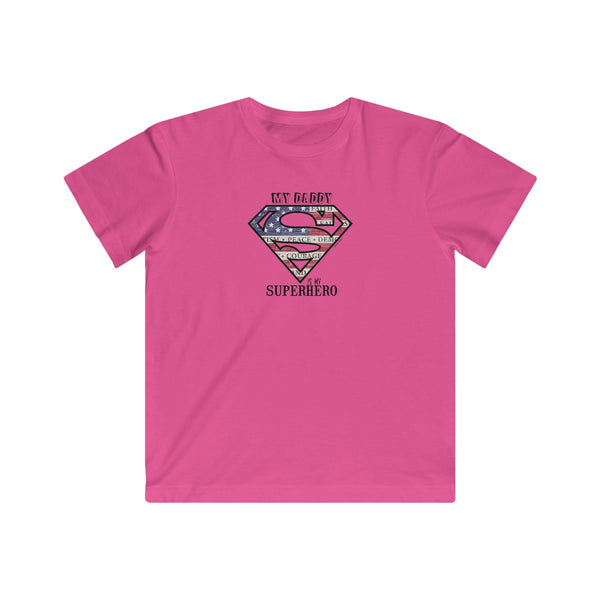 Superdad My Daddy My Superhero | Youth Cotton Fine Jersey T-Shirt | 11 Colors | Youth - Baby Pea Clothing Fashion for Babies & Kids of all ages