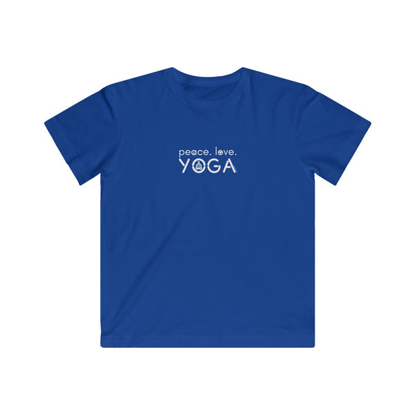Peace Love Yoga | Youth Cotton Fine Jersey T-Shirt | 11 Colors | Youth - Baby Pea Clothing Fashion for Babies & Kids of all ages