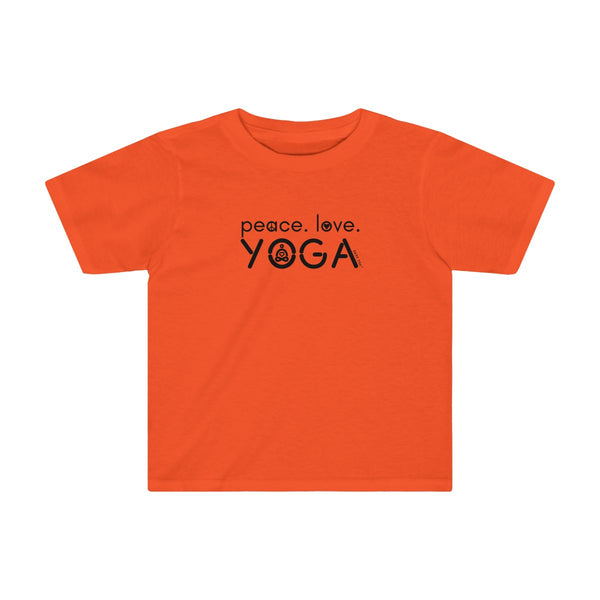 Peace Love Yoga | Toddler Soft Cotton T-Shirt | 11 Colors | Toddler - Baby Pea Clothing Fashion for Babies & Kids of all ages