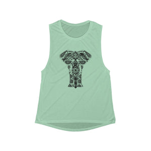 Boho Animal Elephant | Women's Flowy Scoop Muscle Tank | 6 Colors - Baby Pea Clothing Fashion for Babies & Kids of all ages