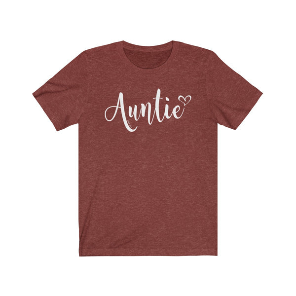 Auntie T-Shirt Heart | Unisex Jersey Short Sleeve Tee | Earth Tone Colors - Baby Pea Clothing Fashion for Babies & Kids of all ages