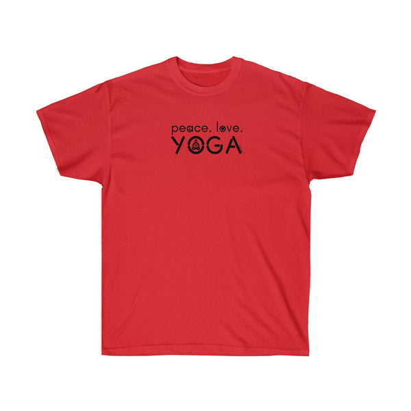 Peace Love Yoga | Men's Ultra Cotton Tee | 19 Colors | Men's - Baby Pea Clothing Fashion for Babies & Kids of all ages