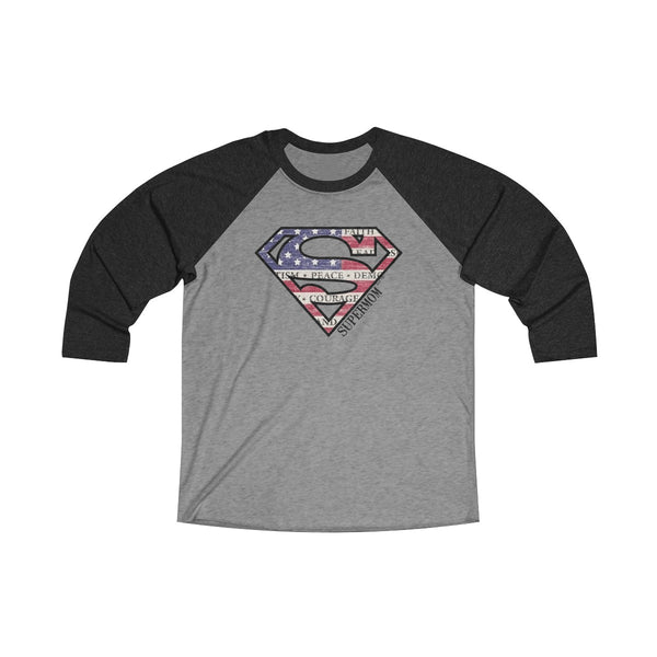 Supermom | Unisex Tri-Blend 3/4 Raglan Tee | 16 Colors - Baby Pea Clothing Fashion for Babies & Kids of all ages