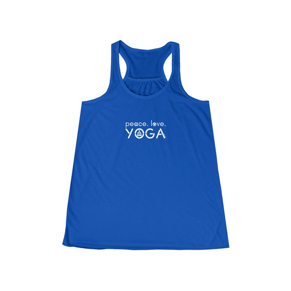 Peace Love Yoga | Women's Flowy Racerback Tank | 14 Colors | Women's - Baby Pea Clothing Fashion for Babies & Kids of all ages