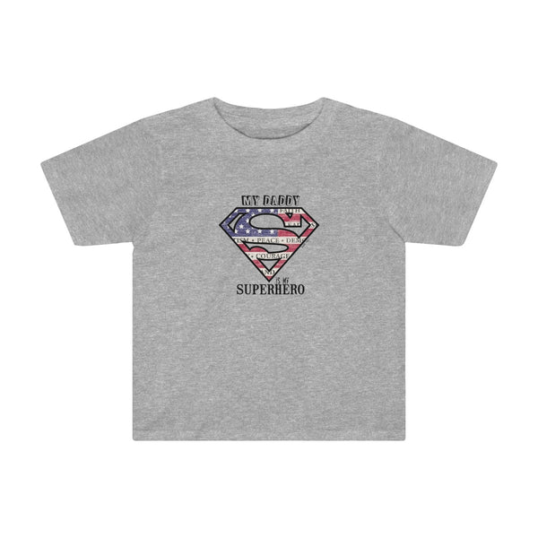 Superdad My Daddy My Superhero | Toddler Cotton T-Shirt | 11 Colors | Toddler - Baby Pea Clothing Fashion for Babies & Kids of all ages