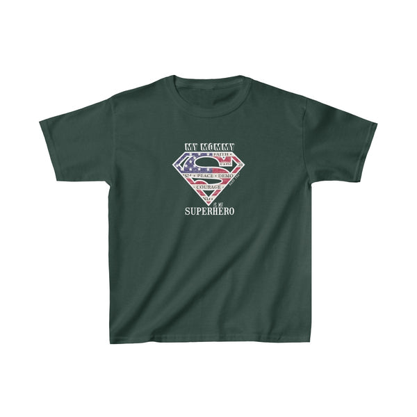 Supermom My Mommy My Superhero | Youth Heavy Cotton T-Shirt | 17 Colors | Unisex - Baby Pea Clothing Fashion for Babies & Kids of all ages