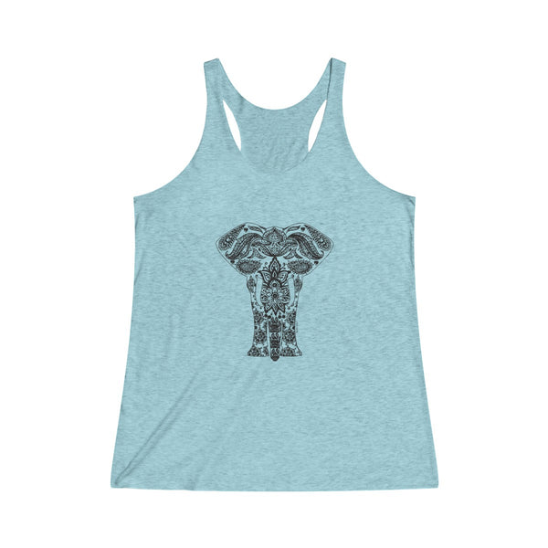 Boho Elephant | Women's Tri-Blend Racerback Tank | 14 Colors - Baby Pea Clothing Fashion for Babies & Kids of all ages