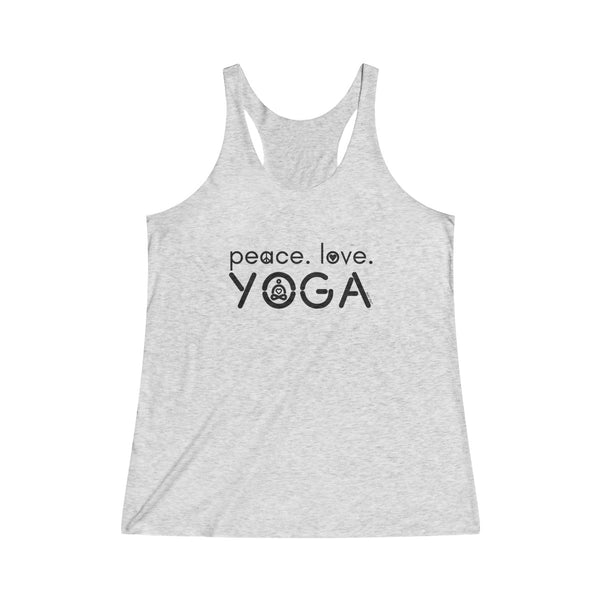 Peace Love Yoga | Women's Tri-Blend Racerback Tank | 14 Colors - Baby Pea Clothing Fashion for Babies & Kids of all ages
