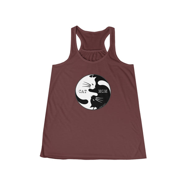 Cat Mom Yin Yang | Women's Flowy Racerback Tank | 14 Colors - Baby Pea Clothing Fashion for Babies & Kids of all ages