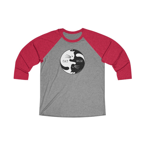 Cat Mom Yin Yang | Women's Tri-Blend 3/4 Raglan T-Shirt | 16 Colors - Baby Pea Clothing Fashion for Babies & Kids of all ages