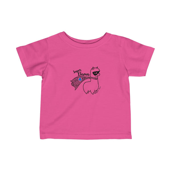 Super Llama with Blue Heart | Infant Fine Jersey Tee | 9 Colors - Baby Pea Clothing Fashion for Babies & Kids of all ages