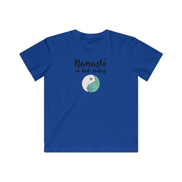 Namaste in Bed Today | Youth Cotton Fine Jersey T-Shirt | 11 Colors | Youth - Baby Pea Clothing Fashion for Babies & Kids of all ages
