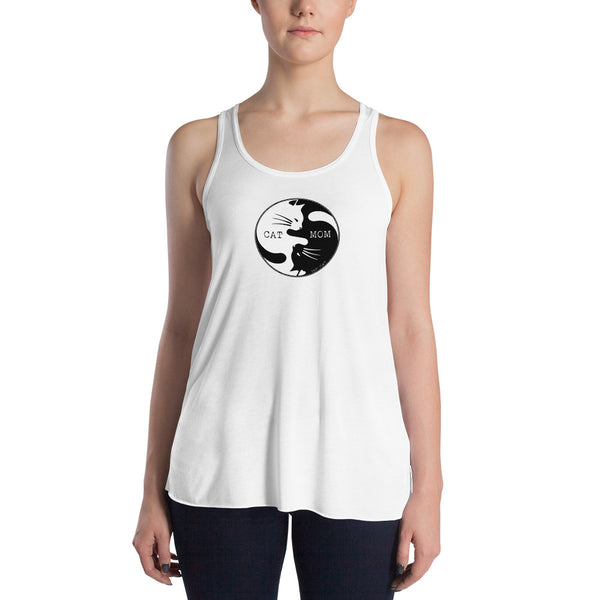 Cat Mom Yin Yang | Women's Flowy Racerback Tank Top | 4 Colors - Baby Pea Clothing Fashion for Babies & Kids of all ages
