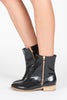 Paige Double Zipper Flat Bootie - Black