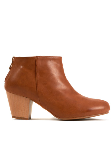 Adelaide Back Zip Bootie - Brown