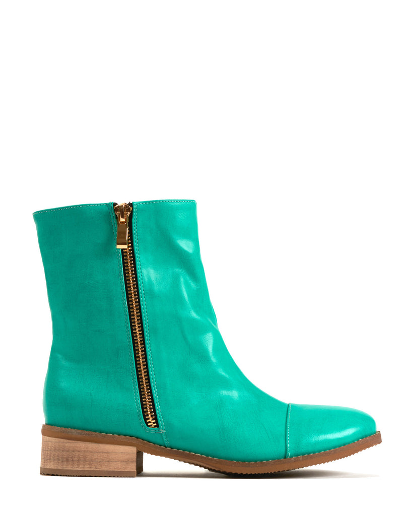 Paige Double Zip Flat Boot - Teal
