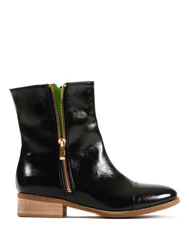 Paige Double Zip Flat Bootie - Black/Green