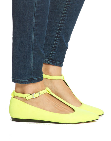 Bo T-Strap Pointy Flat - Neon - was $110