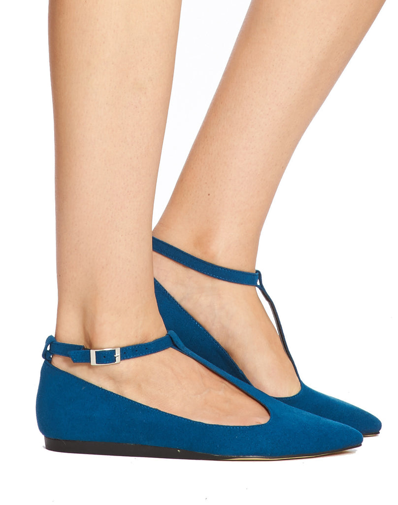 Bo T-Strap Pointy Flat - Cerulean - was $110