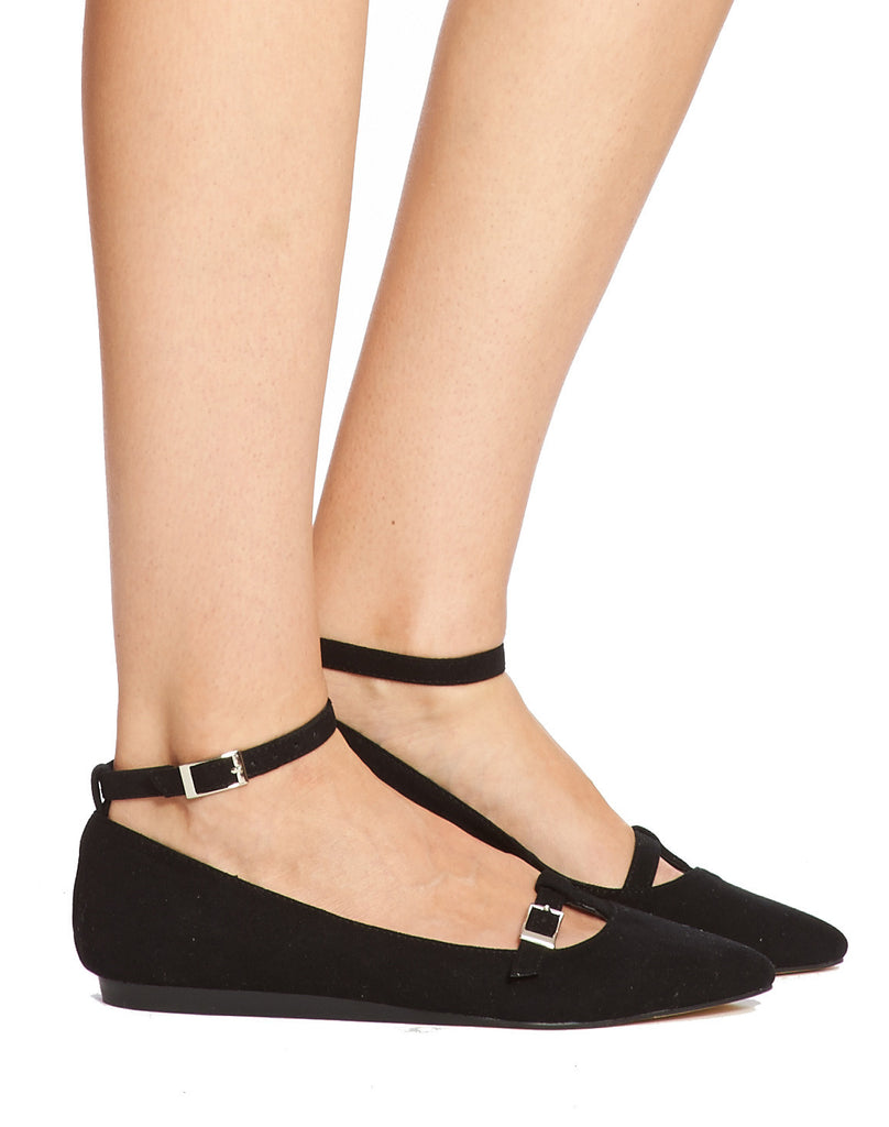 Lee Buckled Ankle Strap Flat - Black - was $110