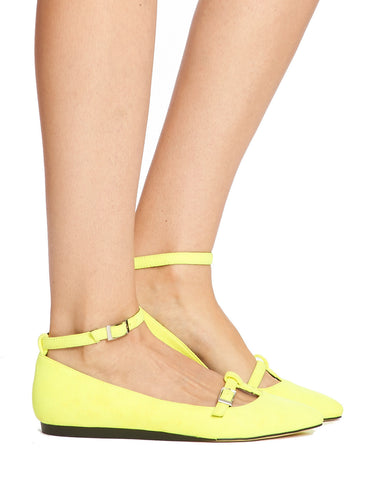 Lee Buckled Ankle Strap Flat - Neon