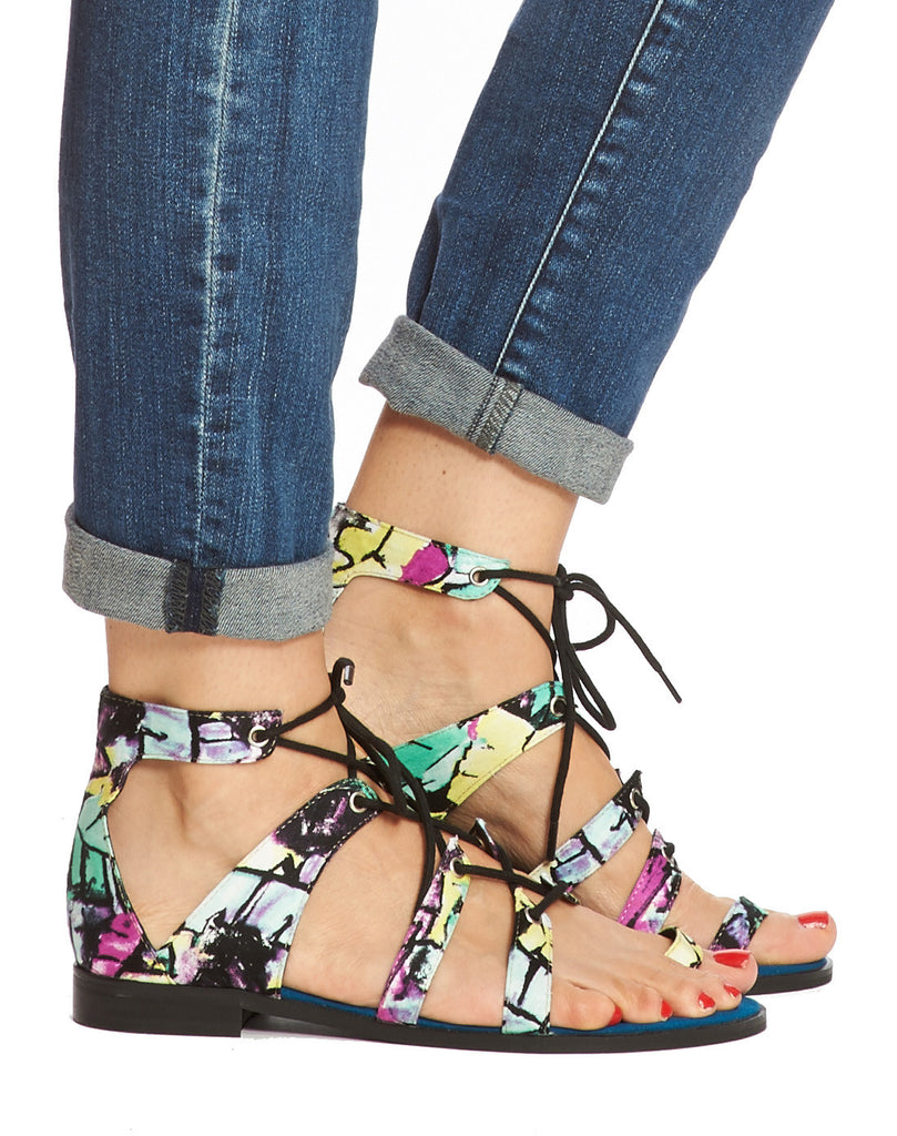 Mackenzie Lace-up Sandal - Teal Print - was $130
