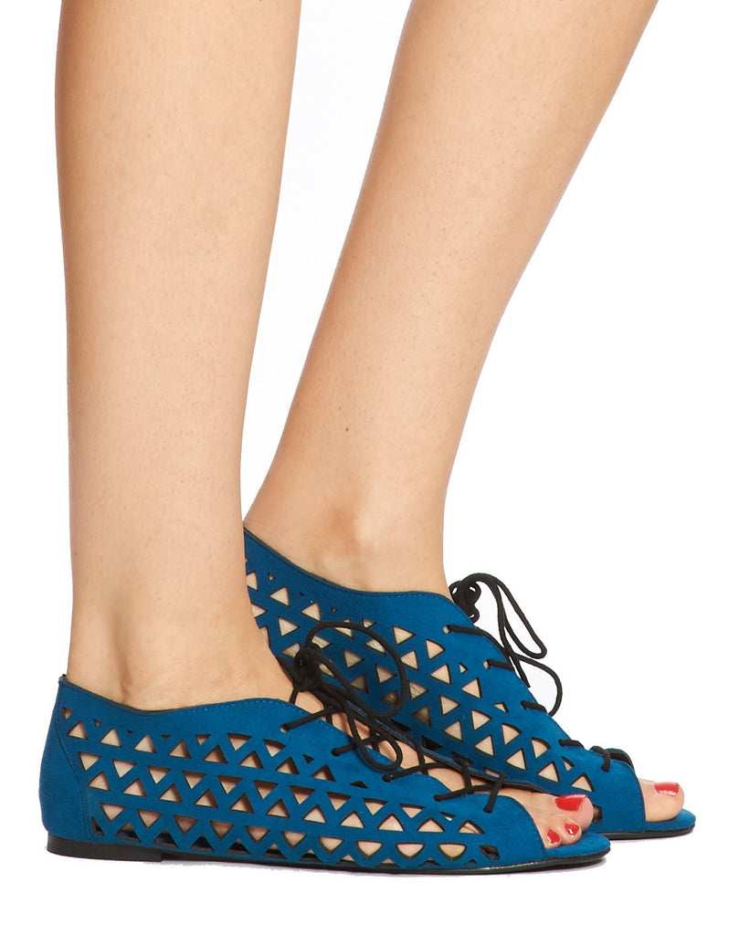 Max Laceup Laser-cut Flat - Cerulean - was $110