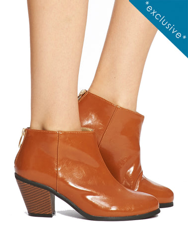 Adelaide Back Zip Bootie - Shiny Brown - was $160