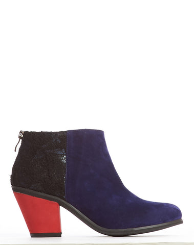 Adelaide Back Zip Bootie - Navy/Red