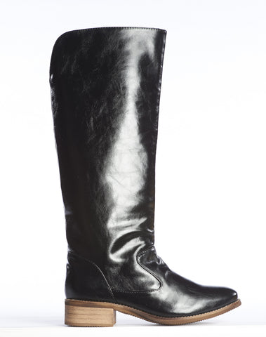 Anne Pull-on Tall Boot - Black w/ Green Lining