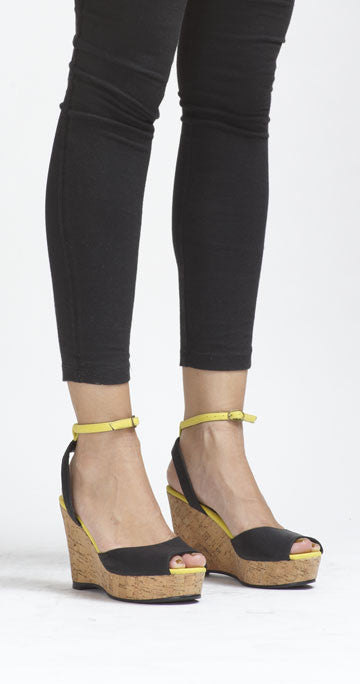 Bounty Ankle-Strap Wedge - Black/Yellow