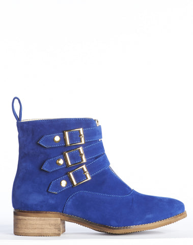 Cecily Velvet Buckle Bootie - Royal