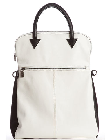 Charlie Foldover Messenger Bag - Black/White