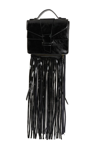Claire Removable Fringe Satchel - Black