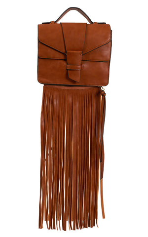 Claire Removable Fringe Satchel - Brown