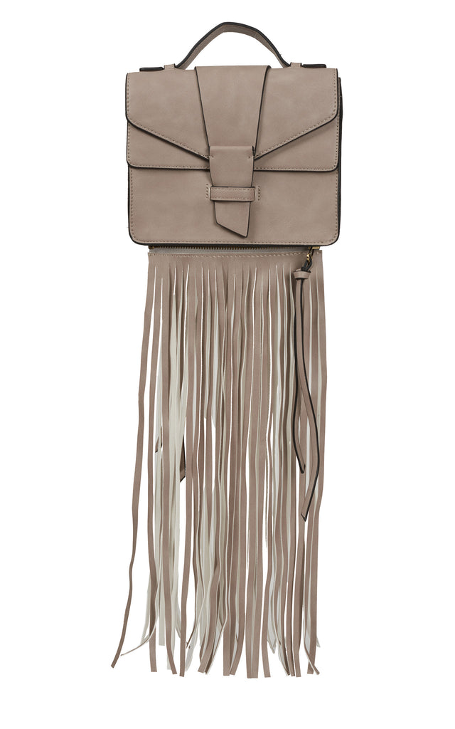 Claire Removable Fringe Satchel - Gray Suede