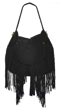 Cullen Fringe Handbag - Black - was $190