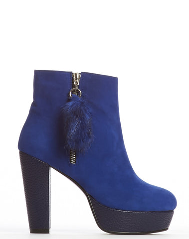 Ditta Zipper Platform Bootie - Royal