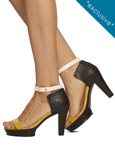Dove Ankle Strap Platform Sandal - Black - was $165