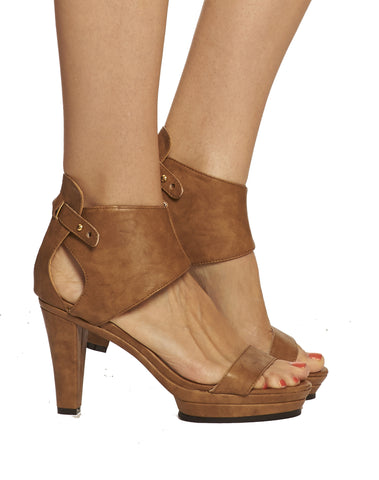 Emerson Ankle Cuff Platform Sandal - Brown