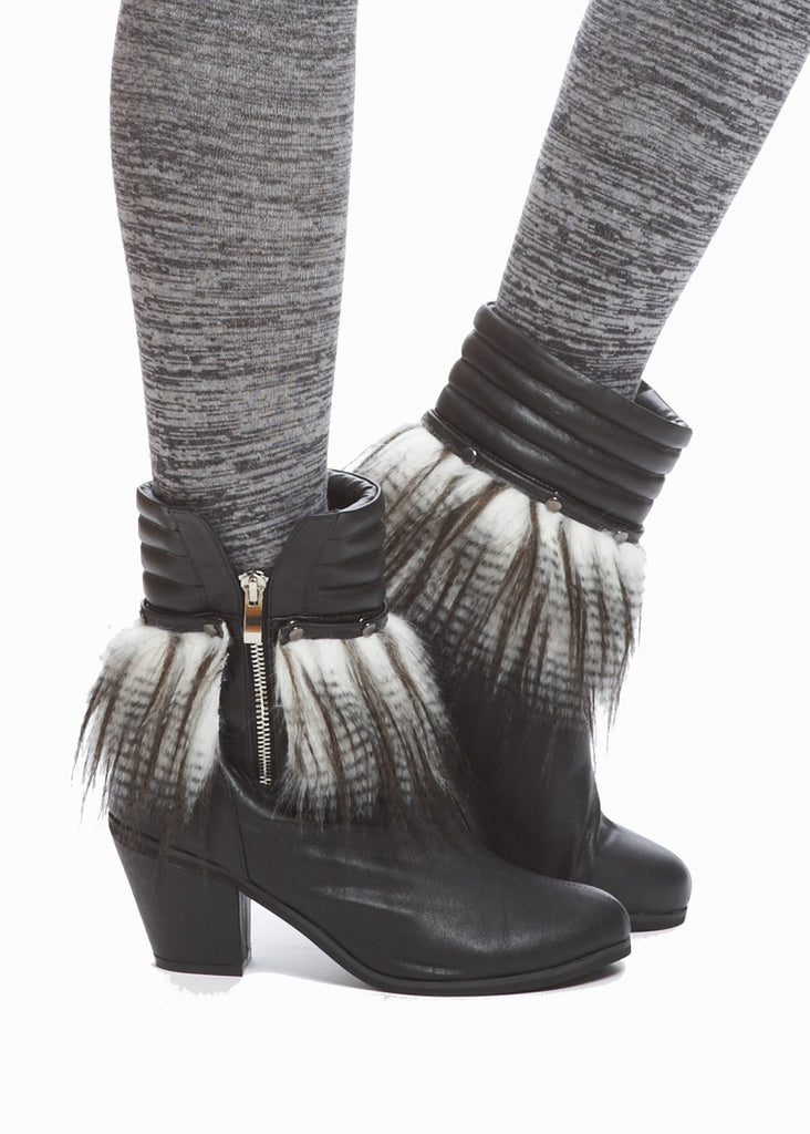 Frida Removable Fur Cuff Bootie - Black - was $180
