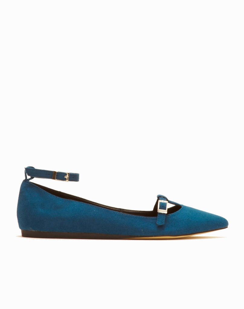 Lee Buckled Ankle Strap Flat - Cerulean