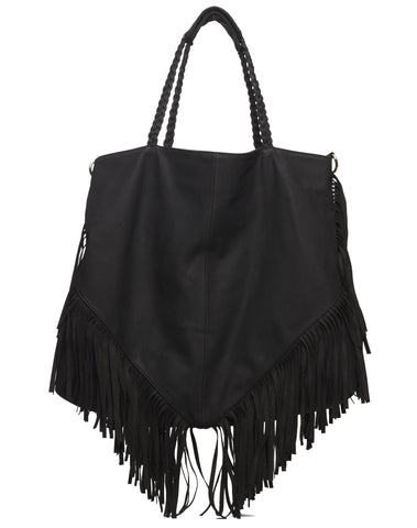Lou Fringe Tote Bag - Black