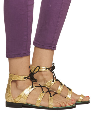 Mackenzie Lace-up Sandal - Gold - was $130