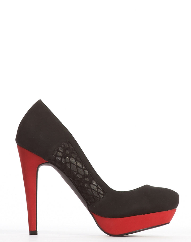 Margaret Lace Inset Pump - Black - was $150
