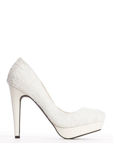 Margaret Platform Pump - White Lace