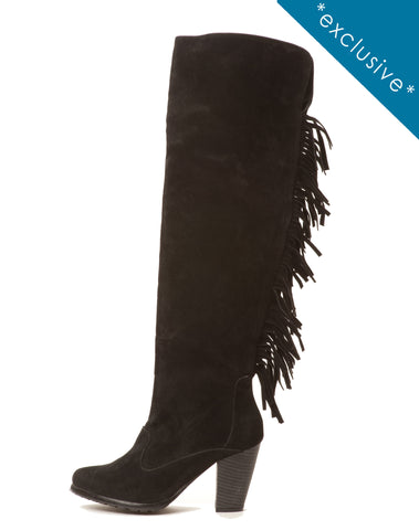 Nora Fringe Boot - Black