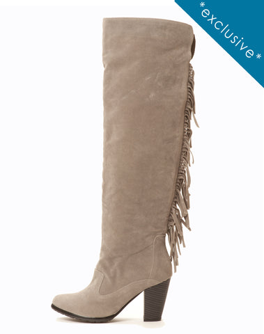 Nora Fringe Boot - Gray