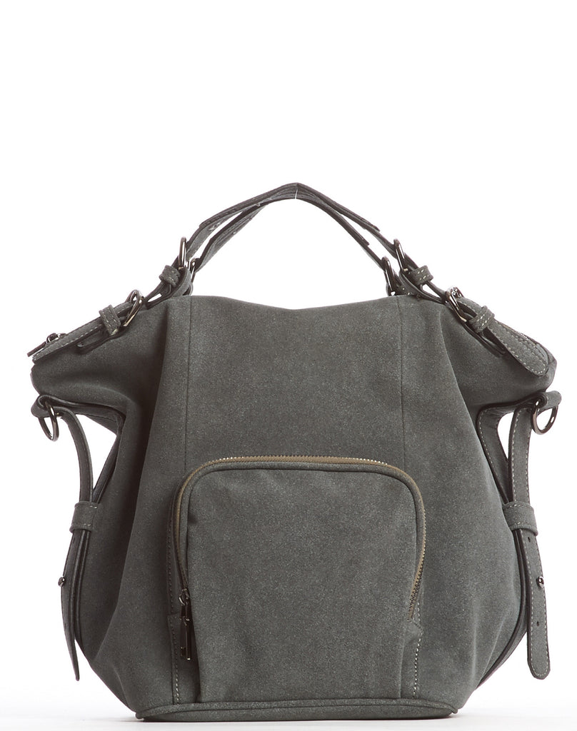 Orian Ultrasuede Satchel Bag - Gray
