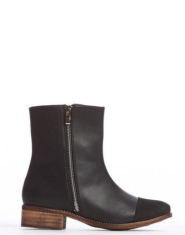 Arden Wohl x CDC Percy Double Zip Flat Boot - Black